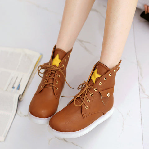 PU Mixed Color Round Toe Flat Heel Lace Up Side Pocket 7 Colors Led Light Star Sneakers 9 Brown