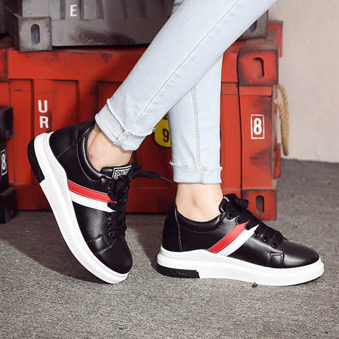 PU Mixed Color Round Toe Platform Hidden Heel Lace Up Sneakers 7.5 Black