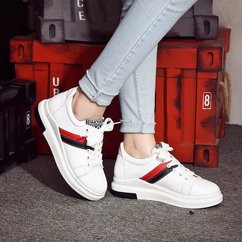 PU Mixed Color Round Toe Platform Hidden Heel Lace Up Sneakers 7.5 White