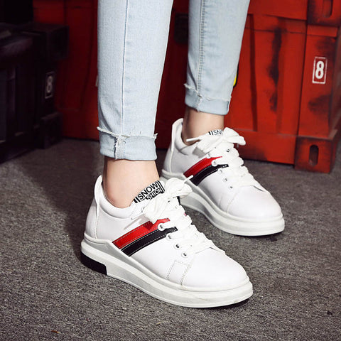 PU Mixed Color Round Toe Platform Hidden Heel Lace Up Sneakers 7 White