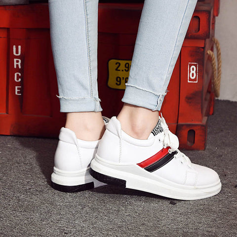 PU Mixed Color Round Toe Platform Hidden Heel Lace Up Sneakers 8 White