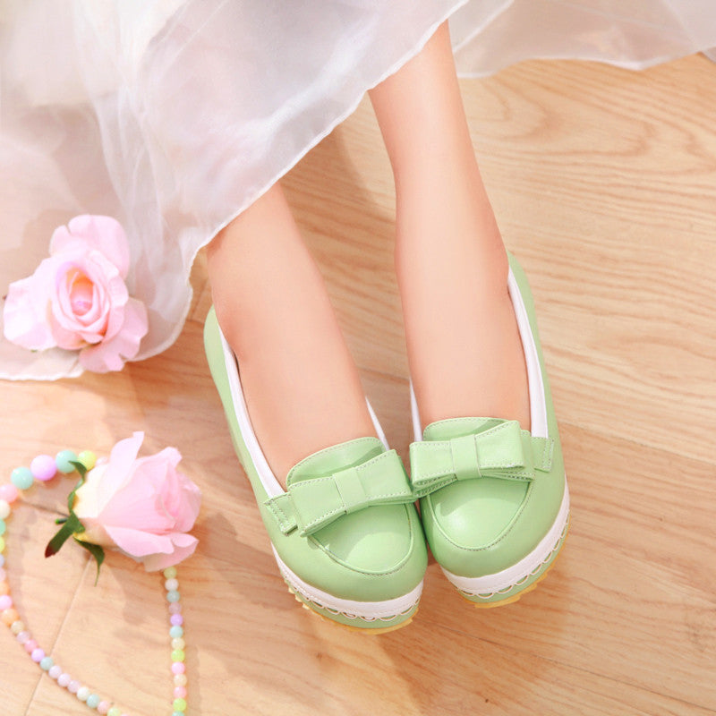 PU Mixed Color Round Toe Wedge Heel Lace Embellished Bowtie Loafers 7 Green