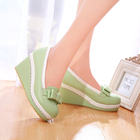 PU Mixed Color Round Toe Wedge Heel Lace Embellished Bowtie Loafers 7.5 Green