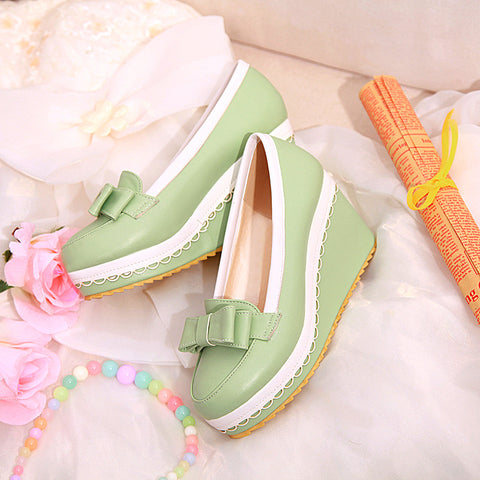 PU Mixed Color Round Toe Wedge Heel Lace Embellished Bowtie Loafers 6.5 Green