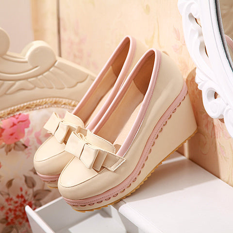 PU Mixed Color Round Toe Wedge Heel Lace Embellished Bowtie Loafers 6.5 Beige