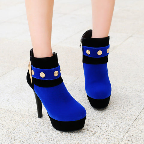 PU Mixed Color Round Toe Side Zipper Rivet High Heel Ankle Boots 9.5 Blue