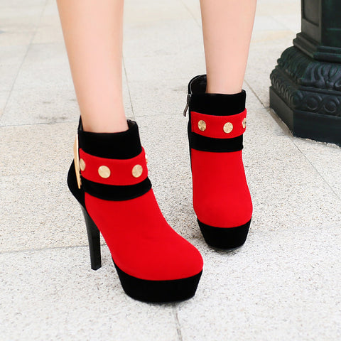 PU Mixed Color Round Toe Side Zipper Rivet High Heel Ankle Boots 9.5 Red