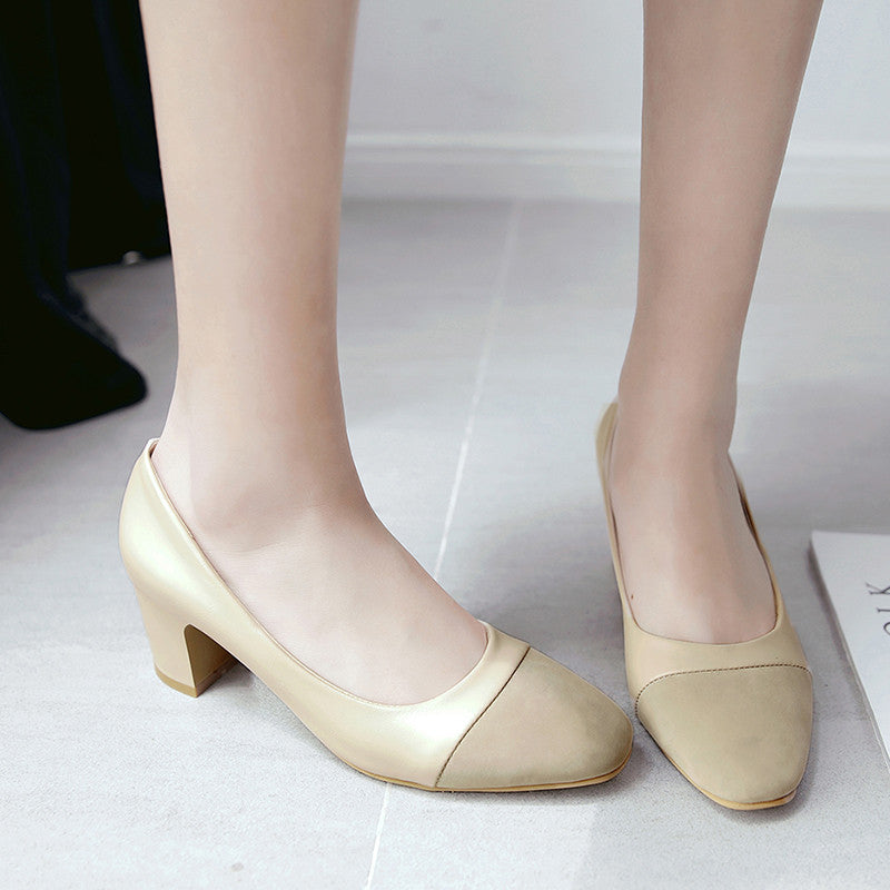 PU Mixed Color Square Toe Block Heel Court Shoes 9.5 Beige