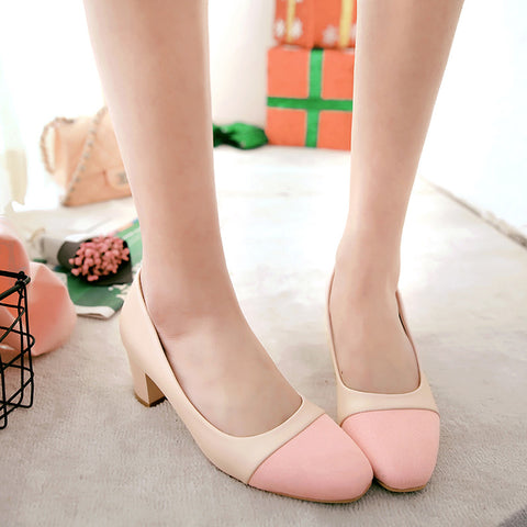 PU Mixed Color Square Toe Block Heel Court Shoes 9.5 Pink