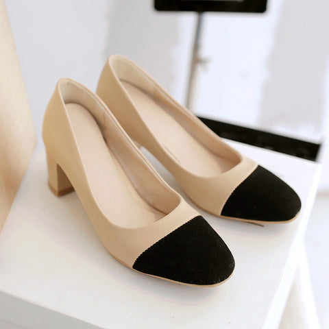 PU Mixed Color Square Toe Block Heel Court Shoes 9 Black