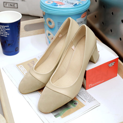 PU Mixed Color Square Toe Block Heel Court Shoes 9 Beige