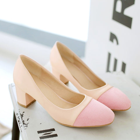 PU Mixed Color Square Toe Block Heel Court Shoes 9 Pink