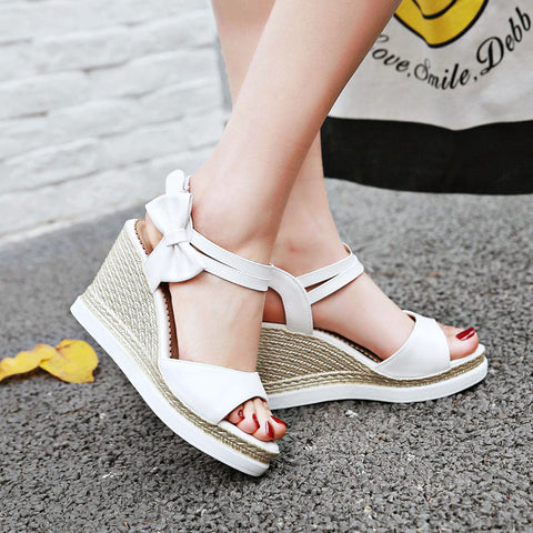 PU Open Toe Woven Wedge Heel Bowtie Ankle Strap Velcro Sandals 9 Pink