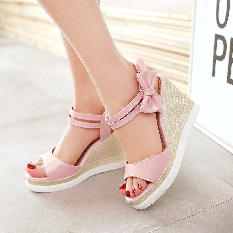 PU Open Toe Woven Wedge Heel Bowtie Ankle Strap Velcro Sandals 8.5 White