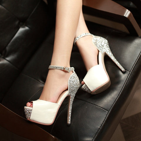 PU Patchwork Peep Toe Stiletto Heel Ankle Strap Sandals 8.5 White