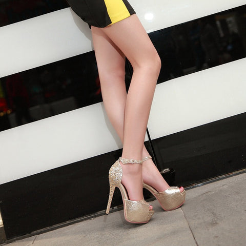 PU Patchwork Peep Toe Stiletto Heel Ankle Strap Sandals 9 Gold