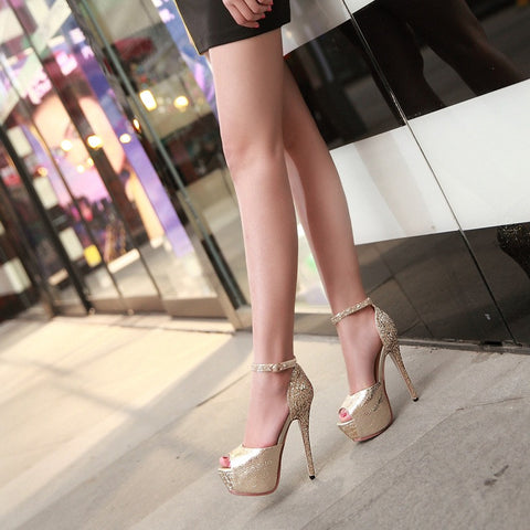 PU Patchwork Peep Toe Stiletto Heel Ankle Strap Sandals 8.5 Gold