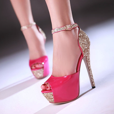 PU Patchwork Peep Toe Stiletto Heel Ankle Strap Sandals 8.5 Rose