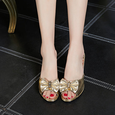 PU Peep Toe Low Thin Heel Bow Mules 7.5 Gold