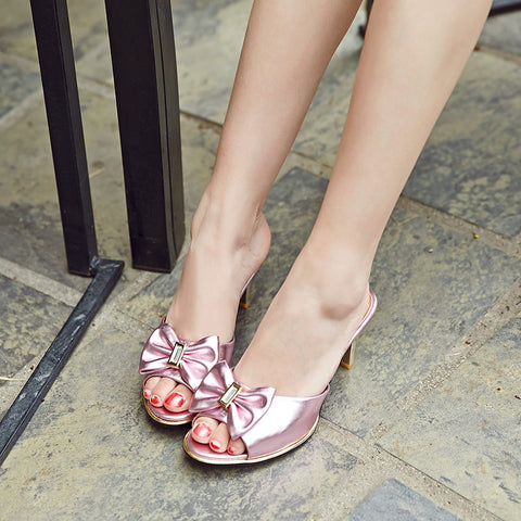 PU Peep Toe Low Thin Heel Bow Mules 7.5 Pink