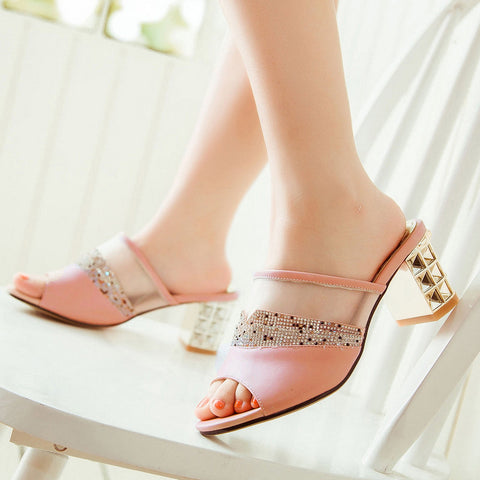 PU Peep Toe Metallic Hollow Carved Block Heel Crystal Pespective Splicing Mules 7 Pink