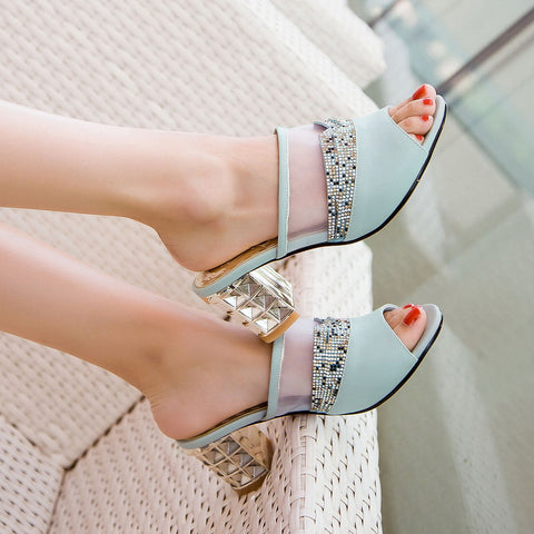 PU Peep Toe Metallic Hollow Carved Block Heel Crystal Pespective Splicing Mules 7 Blue