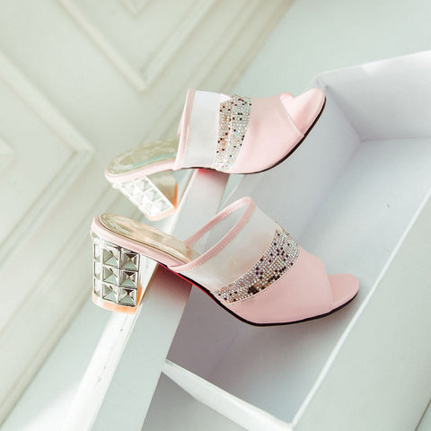 PU Peep Toe Metallic Hollow Carved Block Heel Crystal Pespective Splicing Mules 8 Pink