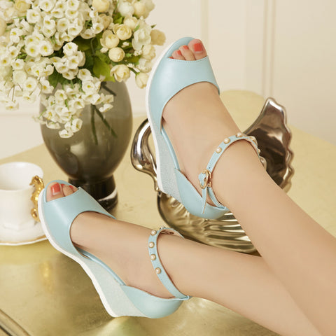 PU Peep Toe Wedge Heel Ankle Strap Pearl Sandals 7.5 Blue