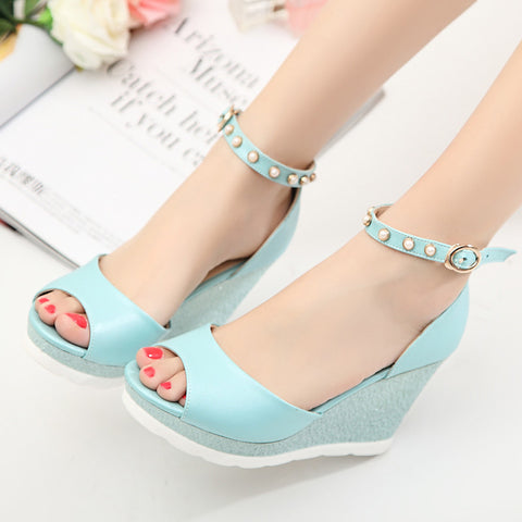 PU Peep Toe Wedge Heel Ankle Strap Pearl Sandals 7 Blue