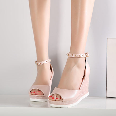 PU Peep Toe Wedge Heel Ankle Strap Pearl Sandals 7.5 Pink