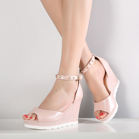 PU Peep Toe Wedge Heel Ankle Strap Pearl Sandals 7 Pink