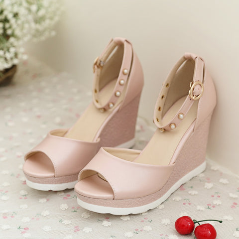 PU Peep Toe Wedge Heel Ankle Strap Pearl Sandals 6.5 Pink