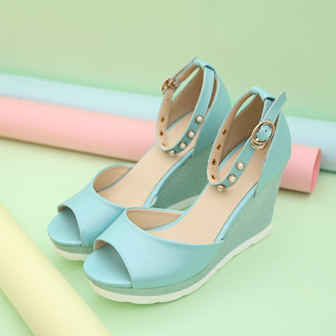 PU Peep Toe Wedge Heel Ankle Strap Pearl Sandals 6.5 Blue