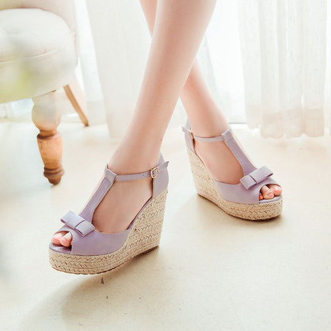 PU Peep Toe Woven Wedge Heel T Strap Bow Sandals 7.5 Purple