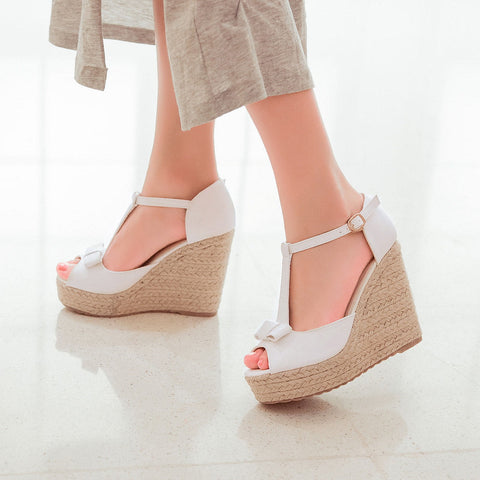 PU Peep Toe Woven Wedge Heel T Strap Bow Sandals 7.5 White