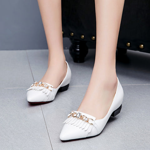 PU Pointy Toe Hidden Heel Metal With Crystal Tassel Loafers 7 White