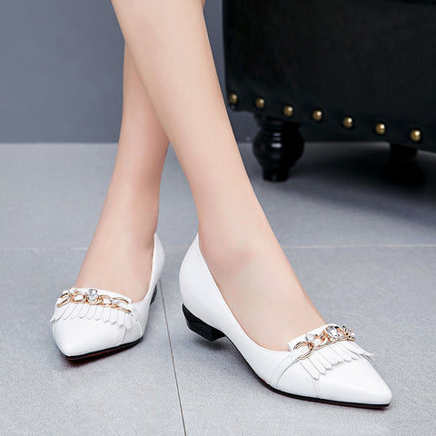 PU Pointy Toe Hidden Heel Metal With Crystal Tassel Loafers 7.5 White