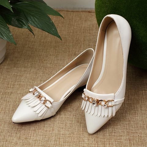 PU Pointy Toe Hidden Heel Metal With Crystal Tassel Loafers 8 White