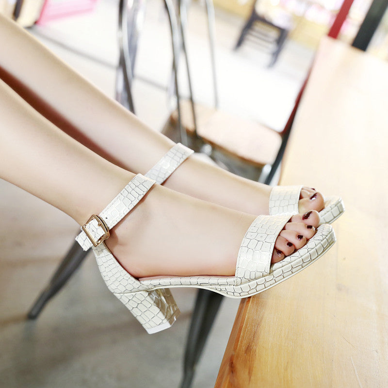 PU Pure Color Open Toe Block Heel Ankle Strap Plaid Lines Sandals 9.5 White