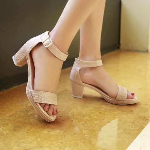 PU Pure Color Open Toe Block Heel Ankle Strap Plaid Lines Sandals 9 Pink