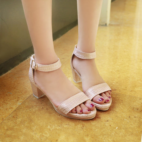 PU Pure Color Open Toe Block Heel Ankle Strap Plaid Lines Sandals 9.5 Pink