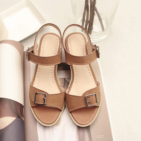 PU Pure Color Open Toe Block Heel Metal Buckle Belt Sandals 9 Brown