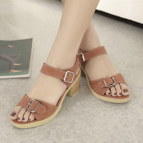 PU Pure Color Open Toe Block Heel Metal Buckle Belt Sandals 9.5 Brown