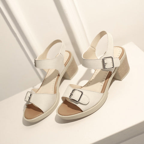 PU Pure Color Open Toe Block Heel Metal Buckle Belt Sandals 9 White