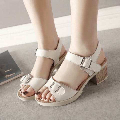 PU Pure Color Open Toe Block Heel Metal Buckle Belt Sandals 9.5 White