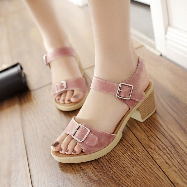PU Pure Color Open Toe Block Heel Metal Buckle Belt Sandals 9.5 Pink