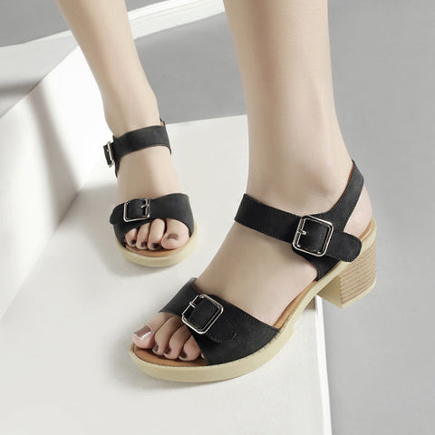 PU Pure Color Open Toe Block Heel Metal Buckle Belt Sandals 9.5 Black