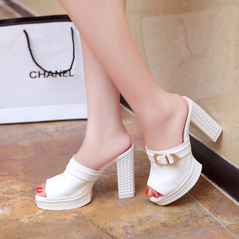 PU Pure Color Open Toe Block Heel Metal Buckle Embellished Mules 7.5 White