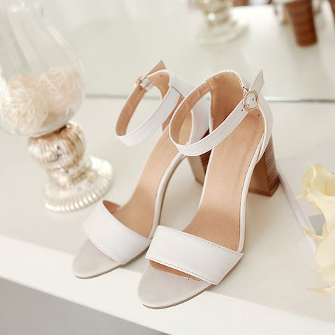 PU Pure Color Open Toe High Block Heel Ankle Strap Sandals 9.5 White