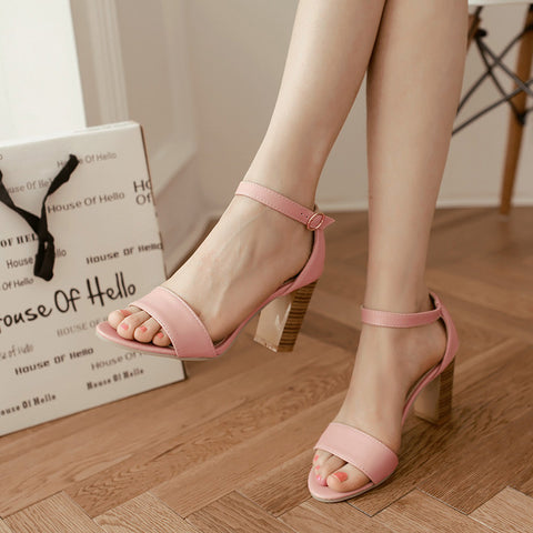 PU Pure Color Open Toe High Block Heel Ankle Strap Sandals 9 Pink